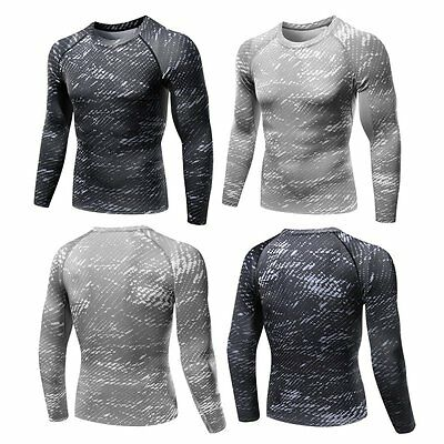 Men's Long Sleeve Compression Under Skins Baselayer T-Shirt Sports Athletic Tops