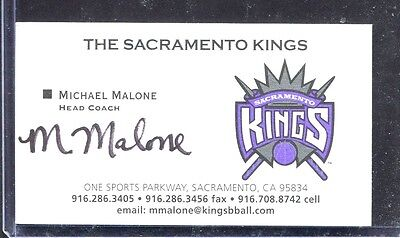 Signed Business Card, Michael Malone, Head Coach, Sacramento Kings