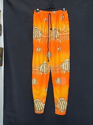 1990's Vintage High Waisted (Elastic) Casual Pants with Fish Print.