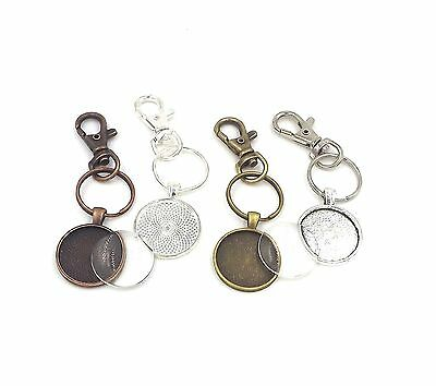 1 inch circle pendant trays key chains with glass domes in your choice of color