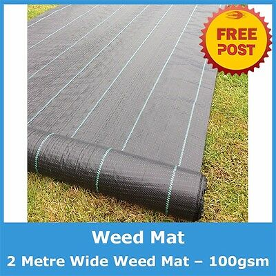 2 X 25m Weed Control Mat Heavy Duty 100 gsm Quality Weedmat PLUS 20 PINS