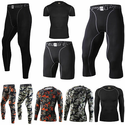 Mens Sport Compression Tights Base Layer Fitness Long Pants Sleeve T-Shirts V133