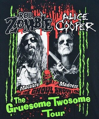 Rob Zombie Alice Cooper Concert T Shirt Gruesome Twosome Tour L Large Black Rock