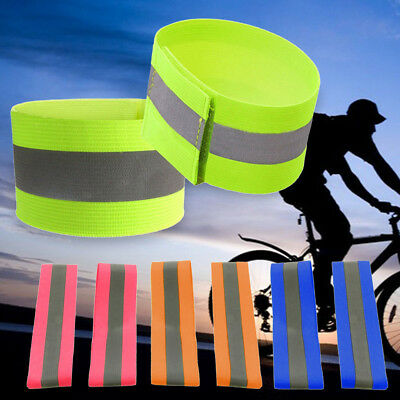 2x Safety Reflective Arm Band Belt Strap For Night Running Cycling Outdoor Sport
