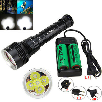 Diving 3Mode Underwater 100m 10000LM 5xL2  LED Flashlight Torch 18650/26650 Lamp