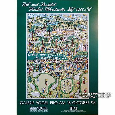 "James Rizzi: POSTER / PLAKAT, Golf 1993 (""Strokes of Genius""), 68x98cm"