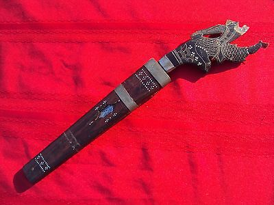 Carved Buffalo Horn Dagger~Ornate Antique Knife~Wall Art Decor w/ Damaged Handle