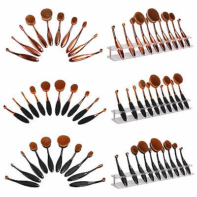 10Pcs Toothbrush Oval Make Up Brushes Set Foundation Contour Makeup Kit UK