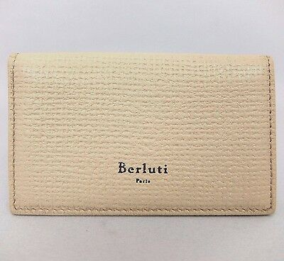 Authentic Berluti Beige leather bifold Business Card holder case Italy