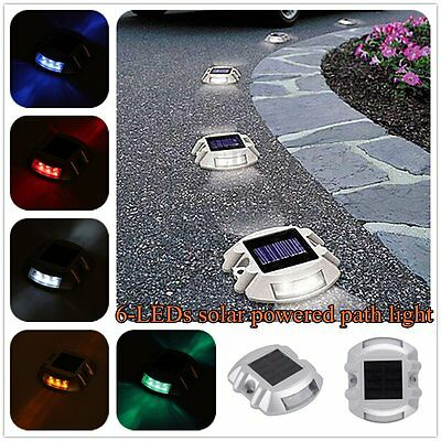 Waterproof 6 LED Solar Power Path Stud Garden Road Dock Yard Lights SALE4WOMEN
