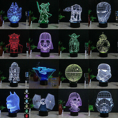 3D Star Wars Death Star LED Night Light Touch Desk Table Lamp 7 Color Xmas Gift