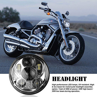 "UK 5.75"" Round LED Headlight Projector Headlamp Daymaker for Harley Motorcycle"