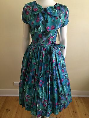 Vintage 40s  50s Pinup Day Dress Rockabilly Retro , Floral Full Skirt Atomic