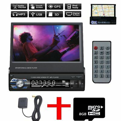 7'' Car Bluetooth GPS Navigation Stereo Radio 1 DIN FM/MP4/MP5/USB/AUX + 8G Map