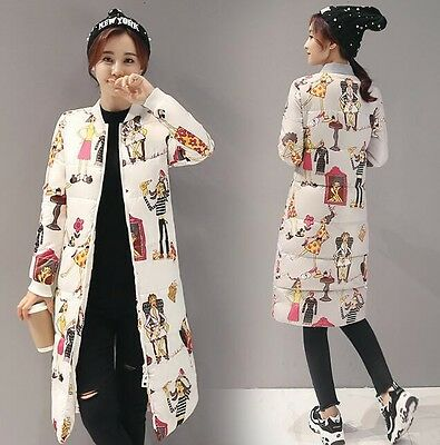 Winter Women Down Jackets Lady Jacket with Cartoon Printing Warm Casual Jackets