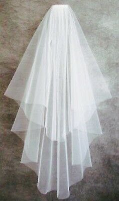Elegant two tier waterfall wedding veil- Italian Tulle- Waist length