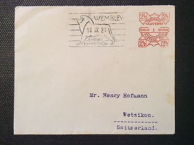 1924 Cover to Switzerland with 2 1/2d Wembley Empire Exhibition machine frank