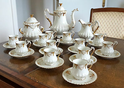 Antique French Limoges Porcelain 19th Century Coffee Service