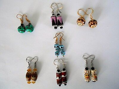 SALE Vintage Handpainted Ceramic Earrings from Peru was $9 NOW $5.95