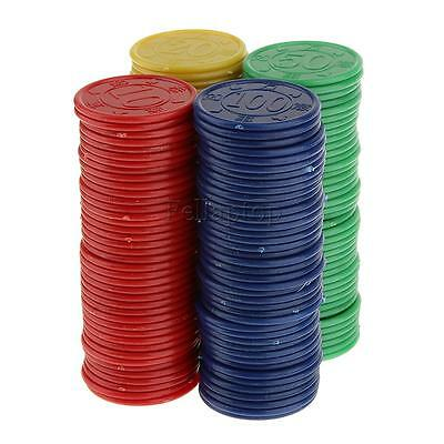 160 Plastic Poker Chips - Red Green Blue Yellow Casino Cards Game Party PROP