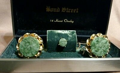 Vintage Green Jade, 14 kt. Gold Overlay, Cuff Links & Tie Tac. Free Shipping