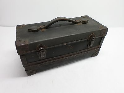 Antique MEDICAL/DOCTOR LEATHER CARRYING CASE - FOLD DOWN FRONT PANEL