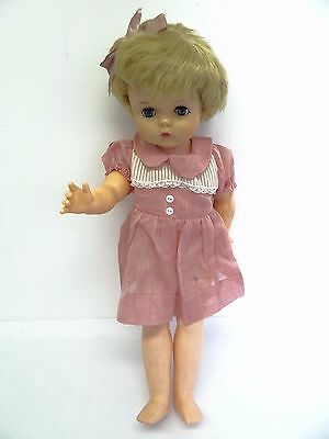 Vintage Used Old Plastic U17 26 Blinking Eye Rubber Head Pink Dress Girl Doll