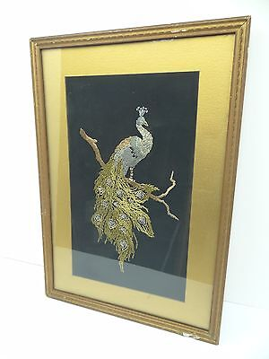 Vintage Old Needlepoint Crochet Embroidered Peacock Gold Color Frame Wall Art