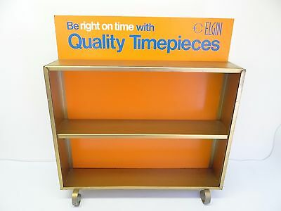 Vintage Used Gold Orange Elgin Quality Timepieces Watch Display Case Advertising
