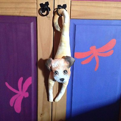 ooak primitive soft sculpture hanging dog puppy TERRIER fauxidermy hanger