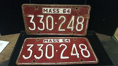 1 set/Pair of Antique MA License Plates #330-248