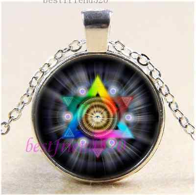 Sacred Geometry Eye Photo Cabochon Glass Tibet Silver Chain Pendant Necklace