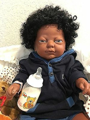 19 Inch Beautiful African-American baby boy with vintage Afro and hazel eyes