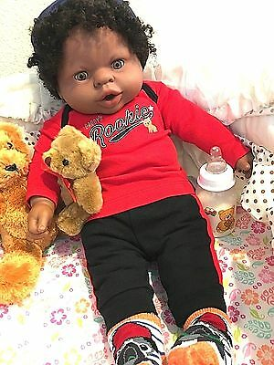19 Inch Beautiful African-American baby boy with vintage Afro