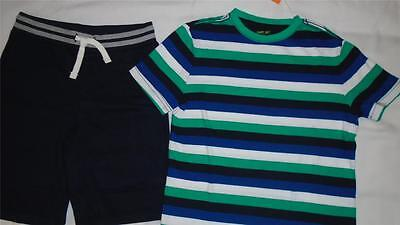 NEW Boys Size M 7-8 Gymboree Outfit Striped Shirt & Soft Navy Shorts Summer NWT