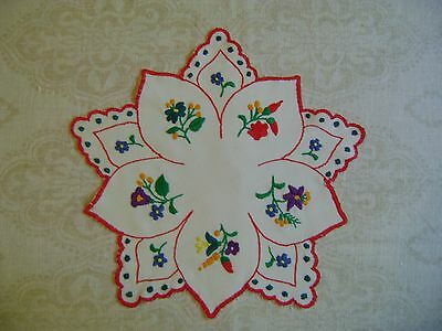 Hungarian KALOCSA HANDEMBROIDERED  Tablecloth Multicolor Floral  Needlework