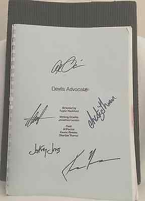 "Authentic AL PACINO, KEANU REEVES Signed SCRIPT ""DEVIL'S ADVOCATE"" & Movie Photo"