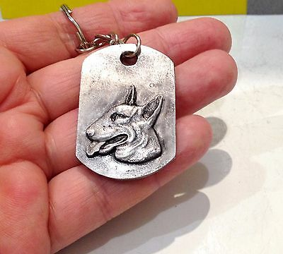 Bull Terrier Pewter  ID Tag / Keychain tin handmade Souvenirs made in Russia