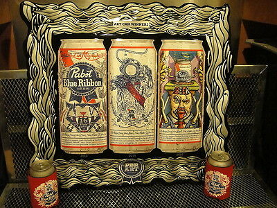 PBR ART CAN WINNERS Pabst Blue Ribbon Beer Embossed Tacker Sign + FREE KOOZIES