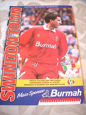 5.10.94 Swindon Town v Lecce programme Anglo-Italian Cup