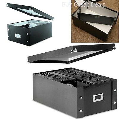 CD Storage Box Organizer Media Case Black DVD Holder Protection Double Wide Rack