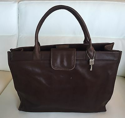FOSSIL Brown Leather Briefcase Computer Bag Silver Trim With Key 75082