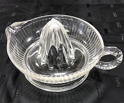 Vintage Anchor Hocking Glass Co. N-346 Clear Glass Citrus Juicer Reamer - Wow