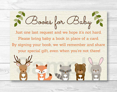 Woodland Forest Animals Baby Shower Book Request Cards Printable