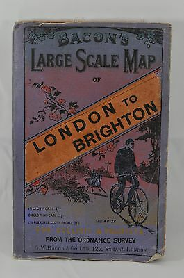 Antique English Bacons Large Scale London  Brighton Bicycling Bike Fold Out Map