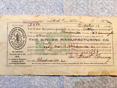 Antique sewing machine receipt from The Singer Manufacturing Co in 1894
