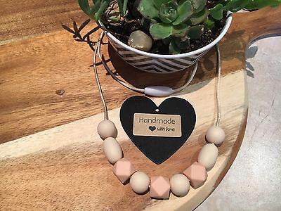 Silicone Sensory Baby (was teething) Necklace for Mum Jewellery Beads Aus Peach
