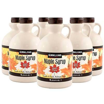 6 X Canadian Maple Syrup 100% Pure Grade A Dark Amber 1Litre Bottles Kirkland