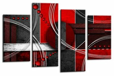 Large Red Black Grey Abstract Canvas Wall Art Picture Split Multi 4 Panel Set