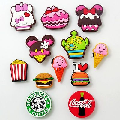 12pcs/set Kids Ice Cream Hamburger Coke Shoe Charms Fit Jibbitz Croc Wristbands